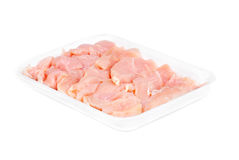 Chicken meat sliced  isolated  on  white background Royalty Free Stock Images