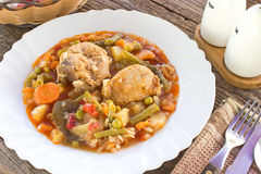 Chicken meat stew with vegetables and rice Stock Photography