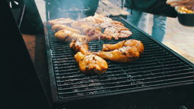 Chicken meat that turn over on a barbecue grill.Meat is fried in Mangal Barbecue grill. Chicken meat on the grill during. Chicken meat that turn over on a stock video