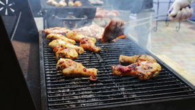 Chicken meat that turn over on a barbecue grill.Meat is fried in Mangal Barbecue grill. Chicken meat on the grill during. A picnic stock footage