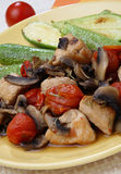 Chicken meat in Tuscan way. On plate Stock Photos