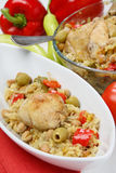 Chicken meat with vegetable. Chicken meat with chick-peas,olives and tomato Stock Images