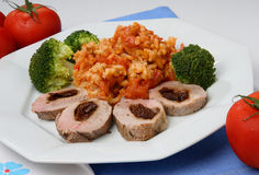 Chicken meat with vegetable. On plate Stock Images