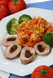 Chicken meat with vegetable. On plate Royalty Free Stock Image
