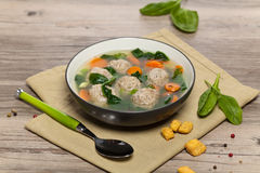 Chicken meatball soup Stock Image
