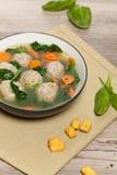 Chicken meatball soup Stock Photos