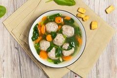 Chicken meatball soup Royalty Free Stock Photos