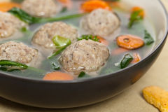 Chicken meatball soup Royalty Free Stock Image
