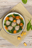 Chicken meatball soup Royalty Free Stock Images
