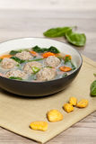 Chicken meatball soup Royalty Free Stock Photography