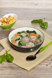 Chicken meatball soup Stock Images