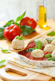 Chicken Meatballs And Tomato Sauce Royalty Free Stock Photography