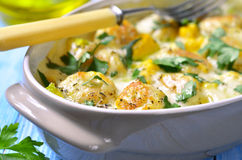 Chicken Meatballs Baked With Pumpkin. Stock Photo
