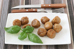 Chicken meatballs with basil Royalty Free Stock Photo
