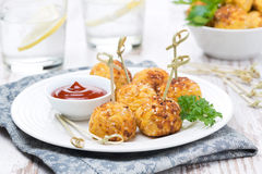 Chicken meatballs in breading with tomato sauce Stock Photo