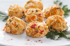 Chicken meatballs. Containing chicken breast, onions, green pepper, carrots, cheese, eggs, dill and parsley Stock Photo