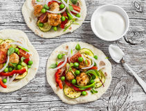 Chicken meatballs and fresh vegetables tacos. Healthy delicious breakfast or snack. Royalty Free Stock Photo