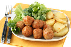 Chicken meatballs with potato Royalty Free Stock Photography