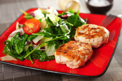 Chicken meatballs with salad Stock Photos
