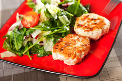 Chicken meatballs with salad Stock Images