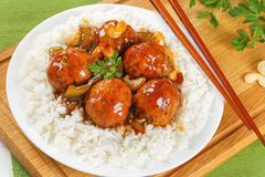 Chicken meatballs served on basmati rice Royalty Free Stock Image