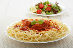 Chicken meatballs with spaghetti Royalty Free Stock Images