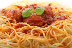 Chicken meatballs with spaghetti Royalty Free Stock Photos