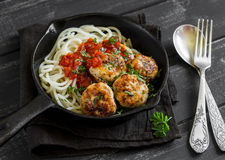 Chicken meatballs and spaghetti with tomato sauce in a pan Stock Photography