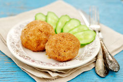 Chicken Meatballs Stuffed With Cheese And Dill Royalty Free Stock Image