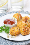 Chicken meatballs with tomato sauce, close-up Royalty Free Stock Image