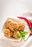 Chicken meatballs under sweet chili pepper sauce Stock Photo