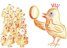 Chicken meeting illustration Royalty Free Stock Images