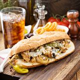 Chicken melt sandwich. With cheese and onions Stock Photography