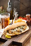 Chicken melt sandwich. With cheese and onions Stock Image
