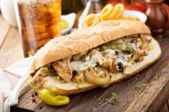 Chicken melt sandwich. With cheese and onions Royalty Free Stock Photos