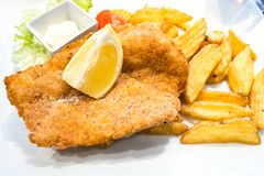 Chicken Milanese schnitzel with roasted potatoes stock image