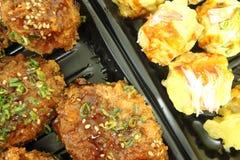 Chicken Milanese with Teriyaki sauce and Japanese Dumplings Stock Image