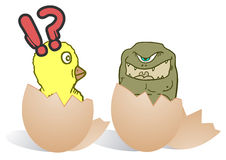 Chicken and monster Stock Images