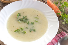 Chicken mushroom cream soup in plate Royalty Free Stock Images