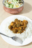 Chicken mushroom curry and salad Royalty Free Stock Photography