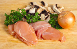 Chicken and mushroom ingredients Royalty Free Stock Photo