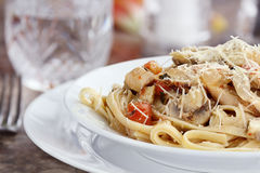 Chicken and Mushroom Linguine Stock Image