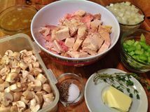 Chicken and Mushroom Mise en Place stock photo
