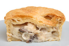 Chicken & Mushroom Pie. Individual chicken & mushroom pie sliced open Royalty Free Stock Images