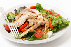 Chicken and mushroom salad with fork stock photos
