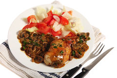 Chicken with mushroom sauce meal Stock Image
