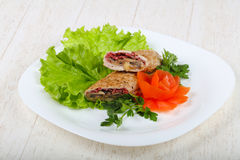 Chicken with mushroom and sausage Royalty Free Stock Image