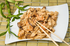 Chicken with mushroom and shrimp royalty free stock photography