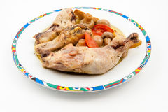 Chicken legs with mushrooms Royalty Free Stock Photography
