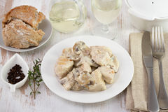 Chicken with mushrooms Stock Image